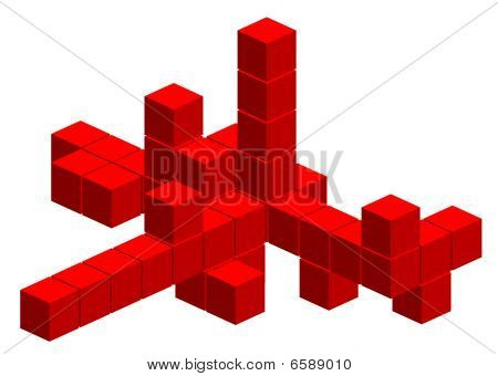 Red 3d cube