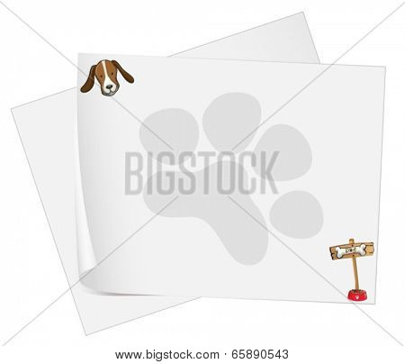 Illustration of the empty paper templates with a head of a dog on a white background