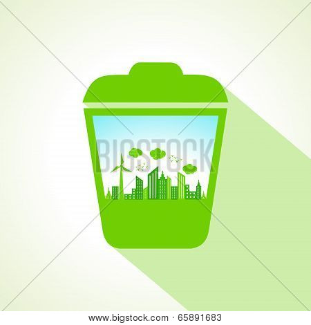 Ecology concept with recycle bin  stock vector