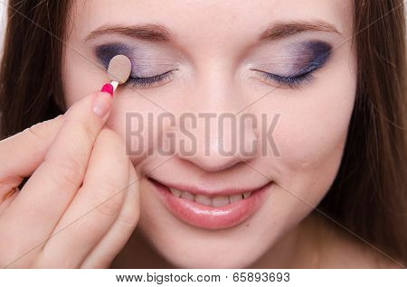 Makeup Artist Is Shaded Eyelids Beautiful Girl
