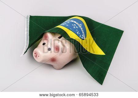 Pig Money Box And Brasil Flag