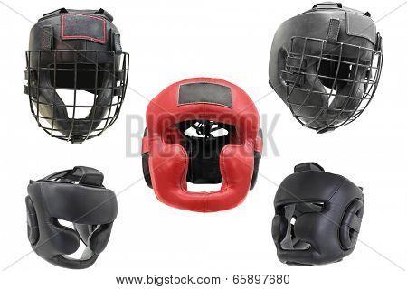 Boxing helmet under the white background
