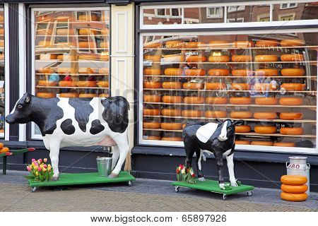 Shop With Cheese In The Delft, Netherlands