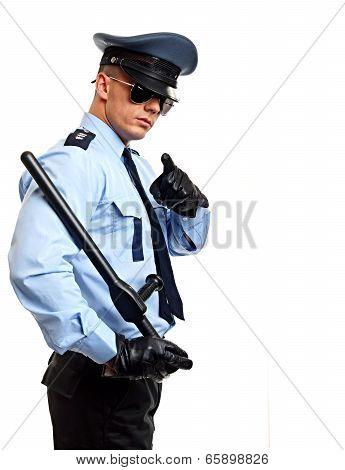 Policeman shows on you