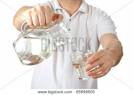 Man Filing Glass With Water