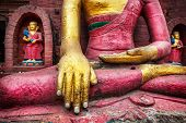 stock photo of samadhi  - Buddha statue at Swayambhunath stupa in Kathmandu Nepal - JPG
