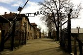 stock photo of cynicism  - Entrance gate of notorious WW2 Nazi Auschwitz I concentration camp in Poland - JPG