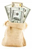 pic of sack dollar  - dollar bills in a canvas sack isolated on white background - JPG