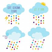 stock photo of rainy season  - Cute Seasonal Cloud Vector Icons or Symbols - JPG