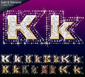pic of letter k  - Shiny font of gold and diamond vector illustration - JPG