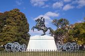 stock photo of artillery  - This is a memorial for President Andrew Jackson in Lafayette Park which is right across the street from the White House in Washington - JPG