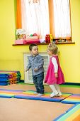 image of montessori school  - Two kids in Montessori preschool Class - JPG