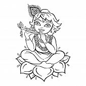 stock photo of krishna  - Hindu God Krishna - JPG