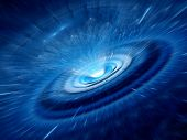 stock photo of quantum physics  - Blue spiral wormhole with flying particles radiation - JPG