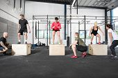 pic of personal trainer  - A group trains box jump with personal trainers at a center - JPG