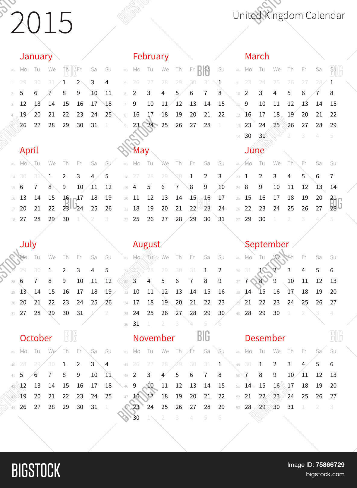 United Kingdom 2015 year calendar with week numbers. Stock Vector ...