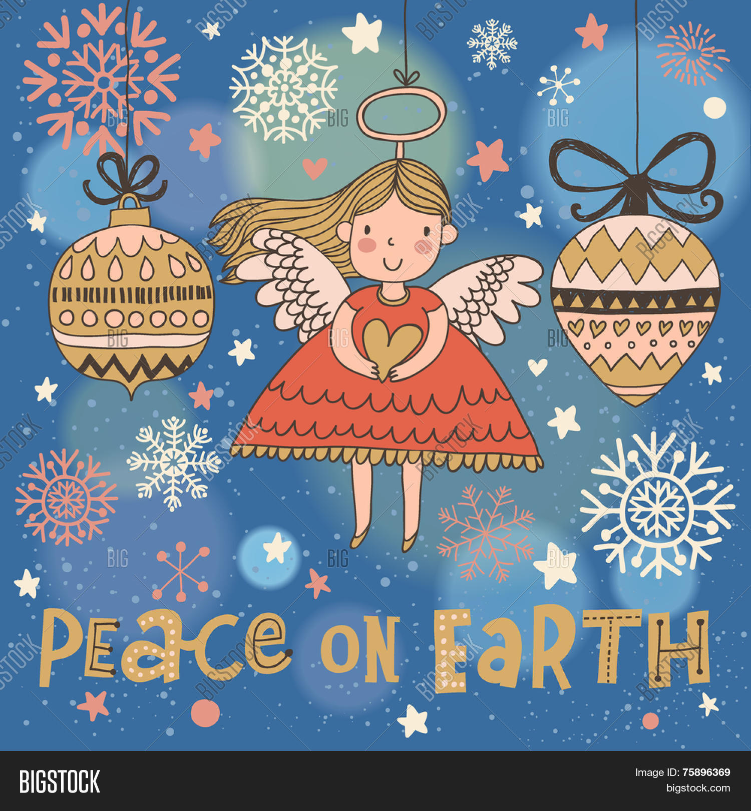 Peace On Earth. Cute Christmas Vector & Photo | Bigstock
