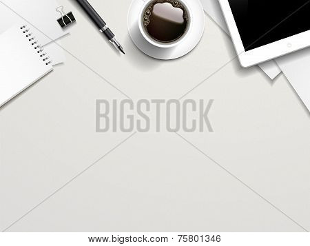 Working Place Elements On White Table