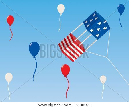 Patriotic Box Kite with Balloons