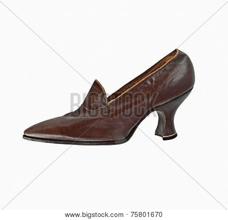 vintage worn women shoe over white, clipping path