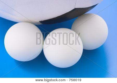 Tennis balls and soccer ball