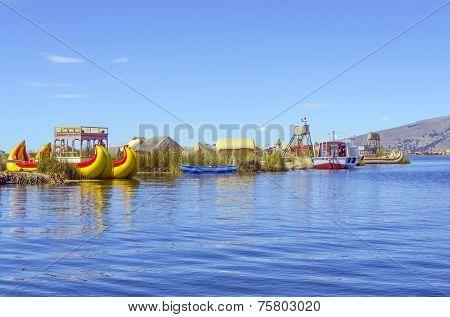 PUNO, PERU, MAY 5, 2014: Uros islands on Titicaca lake -