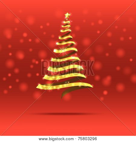 Christmas Tree On The Dark Blue Background