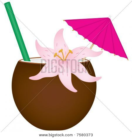 Tropical Drink in Coconut Shell