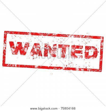 Wanted Red Rubber Stamp Over A White Background
