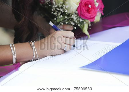 Bride Signing Wedding Marriage Register