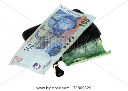 South African Bank Notes With Leather Wallet