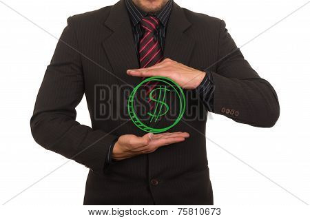 young businessman holding money drawing