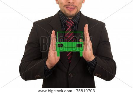 young businessman holding drawn car