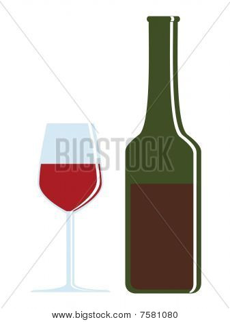 Bottle And Glass - Wine