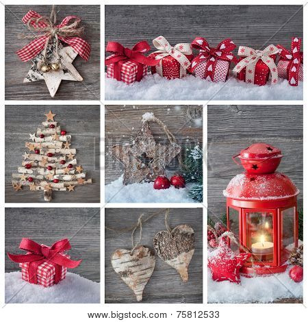 Collage of christmas decorations on a wooden background