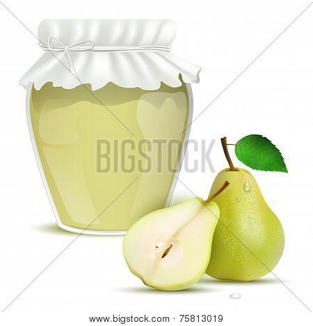 Pear Marmalade In A Jar And Fresh Pears