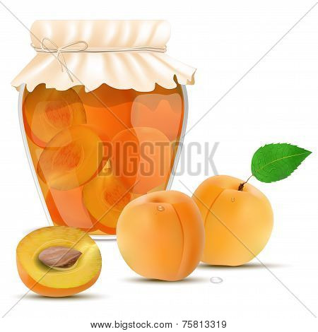 Apricot Compote In A Jar And Fresh Apricots
