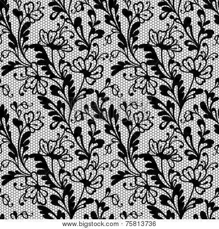 Black lace vector pattern. Seamless ornament.