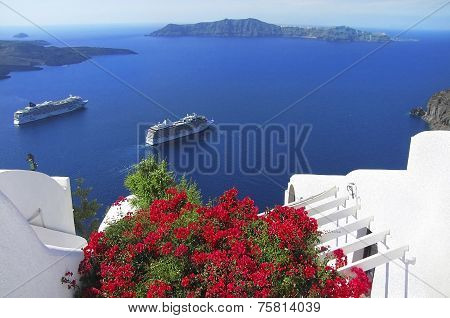 Picturesque View Of The Santorini Island, Greece
