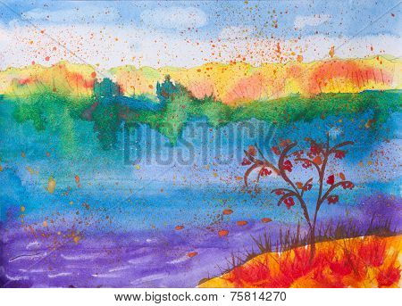 Child's Watercolour Picture About Autumn Nature