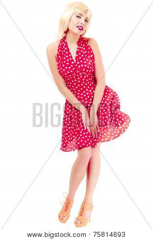 Full Length beautiful Pinup Girl In Blond Wig Retro Red Dress. Vintage.