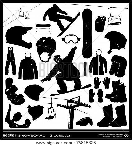 Snowboarding Elements Vector Set.