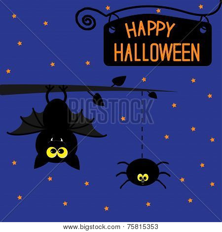 Hanging bat and spider. Starry night. Happy Halloween card.