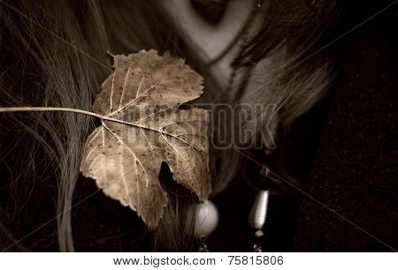Golden Autumn Leaf On A Woman Chest