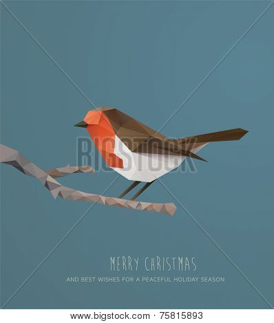 Christmas Card. Geometric polygonal  Robin on a branch. Vector Illustration