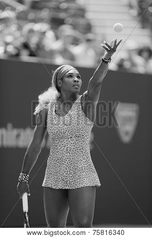 Seventeen times Grand Slam champion Serena Williams serving during match at US Open 2014