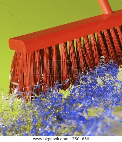 Orange Broom, Blue Party Debris.