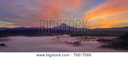 Pre Sunrise Over Mount Hood Panorama