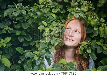 Curious Woman And Nature Or Ecology