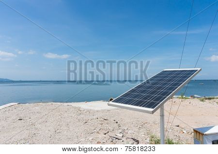 Solar Cell Battery Near Sea
